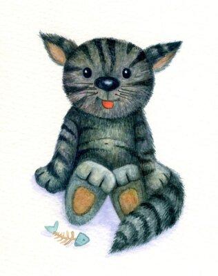 Obraz Roztomilé kotě, akvarel.