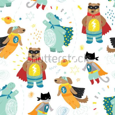 Obraz roztomilé kreslené děti superhrdina bezproblémový vzorek se psem, kočkou, medvědem a hrochem