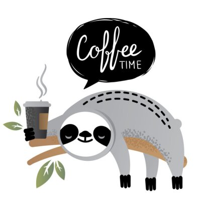 Obraz Roztomilé vektorové lenošky medvědí zvíře s časopisem kávy čas.
