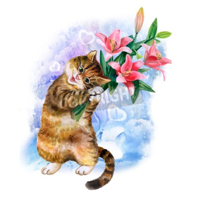 Obraz Roztomilý akvarel karta s kočkou a květinami izolovaných na modrém pozadí s srdce. Lovely kotě s liliemi. Ideální pro Valentin den, narozeniny, Svatební oznámení plakátu. Krásný jarní bouqet.