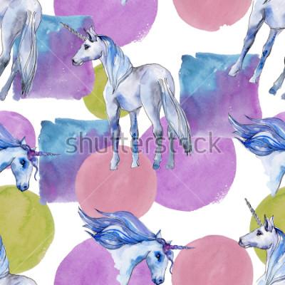 Obraz Roztomilý jednorožec. Pohádkové děti sladký sen. Duha zvíře roh Bezešvé vzorek pozadí. Textura tapety textilie tisknout. Akvarelové divoké zvíře na pozadí, textury, obalový vzor.
