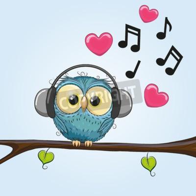 Obraz Roztomilý kreslený Owl se sluchátky na uších