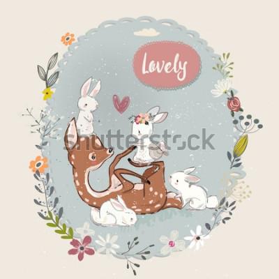 Obraz roztomilý letní jelen s zajíci