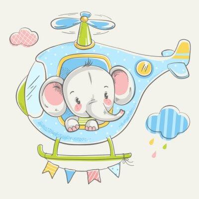 Roztomily Maly Slon Na Vrtulniku Kresleny Rucne Kreslene Vektorove
