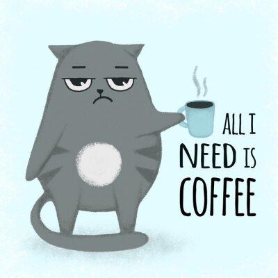 Obraz Roztomilý modrý kreslený ručně tažené kočka s šálkem kávy. Kočka drží šálek.