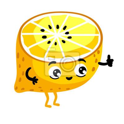 Roztomily Ovoce Citron Kresleny Znak Izolovanych Na Bilem Pozadi
