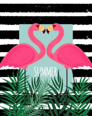Obraz Roztomilý růžový plameňák letní pozadí Vektorové ilustrace