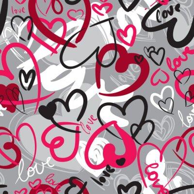 Obraz Roztomilý valentýnské bezešvé vzor se srdíčky