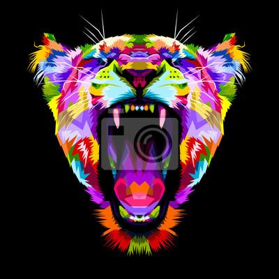 Obraz rozzlobený barevné lvi na stylu pop art