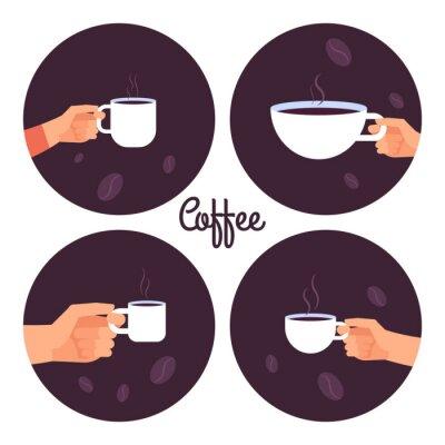 Obraz Ruce držící šálky kávy vektorové ikony nastavit izolovaných na bílém pozadí obrázku