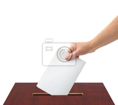 Ruce s hlasováním a box