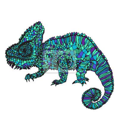 Obraz Ručně kreslená chameleon ilustrace.