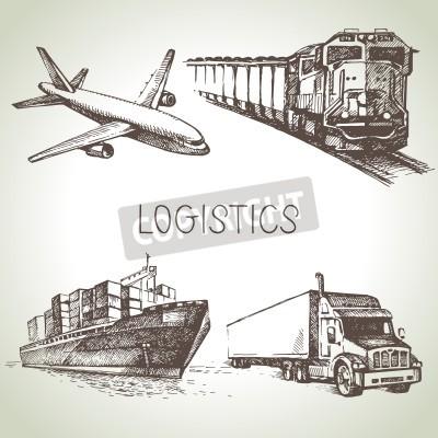 Obraz Ručně kreslená ikona logistiky a náčrtu náčrtu. Vektorové ilustrace