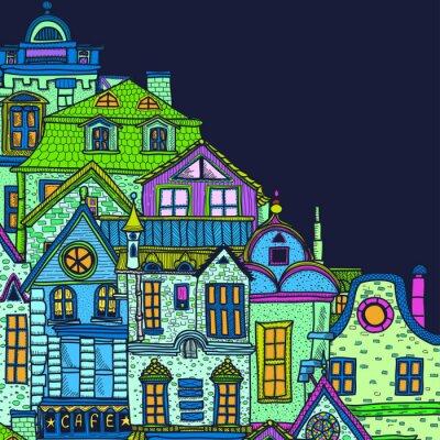 Obraz Ručně kreslená pozadí s nočním starého města
