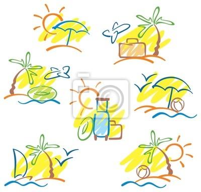 Rucne Kreslene Ilustrace S Slunce More Palmy A Racku Obrazy Na