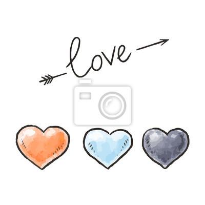 Rucne Kreslene Srdce A Love Napis Designove Prvky Pro Den Svateho