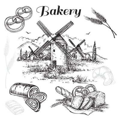 Obraz ručně kreslenými set pekárna