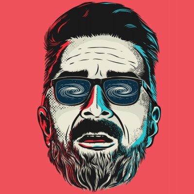 Obraz Ručně kreslenými vektorové tvář bederní muž s brýlemi.