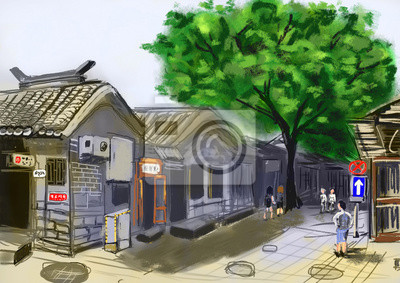 ručně kreslit peking beijing ulici