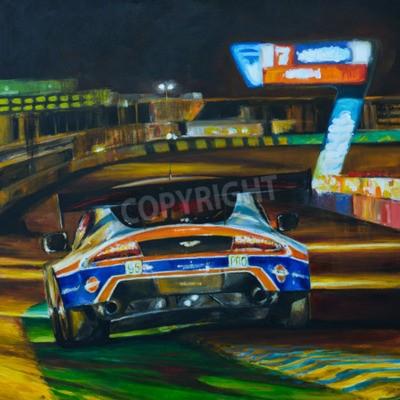 Obraz Ručně malované obraz závodní auto jízdě v noci s vysokou rychlostí v obvodu. Ilustrace vytvořil s kyselinou akrylovou