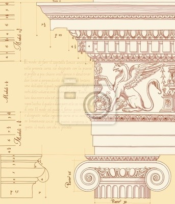 Ručně nakreslit náčrtek iontové architektonické pořadí