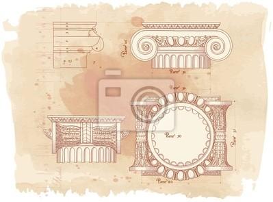 Ručně nakreslit náčrtek iontové architektonické pořadí & vintage akvarel
