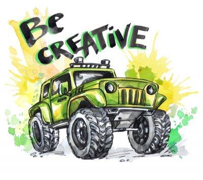 Obraz Ručně tažená karta s velkým vozem a nápisem. Slova buďte kreativní. Akvarel vícebarevné ilustrace. Aktivní bláznivý sport. Doprava.