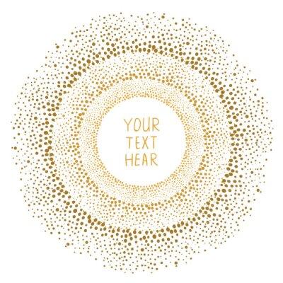 Obraz Ručně tažené zlaté tečky rám izolovaných na bílém pozadí. Abstraktní vektorové šablony pro design.