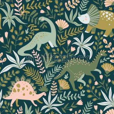 Obraz Ručně vyrobené bezešvý vzor s dinosauři a tropické listy a květiny. Ideální pro dětské textilie, textilní, dětské tapety. Vhodné dino design. Vektorové ilustrace.