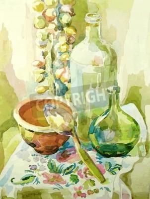Obraz ruční akvarel kuchyně zátiší s hrnci, skleněná láhev, lžíci a mašlí