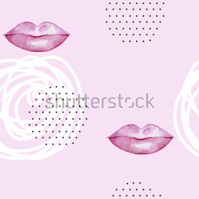 Obraz Ruční hračky akvarely růžové rty. Neobvyklý vzorek.