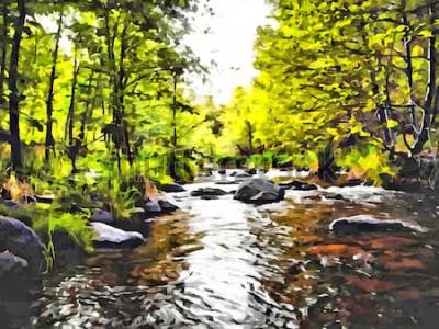 Obraz Ruční kresba akvarel umění na plátně. Umělecký velký tisk. Originální moderní malba. Akrylový suchý štětec pozadí. Nádherné letní krajina. Evropská divoká příroda. Čas cesty. Malá lesní řeka.