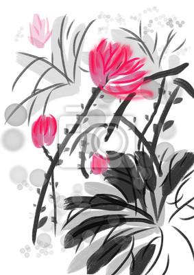 ruční kreslení barvy lotus