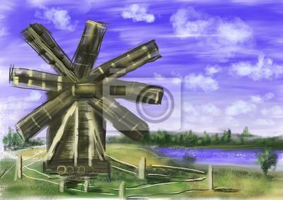 ruční kreslení barvy větrný mlýn