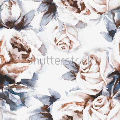 Obraz Růže jednoduchý vzor. Akvarel ilustrace.