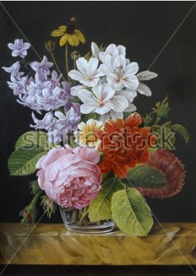 Obraz Růže v skleněné váze. Vlčí máky, fialky, heřmánek. Malování. Stálý život.