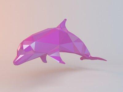 Obraz Růžová 3D low poly (delfín) uvnitř bílé etapě s vysokou kvalitou vykreslení, které mají být použity jako logo, medaile, symbolů, tvar, znak, ikona, dětský příběh, nebo jakékoliv jiné využití.