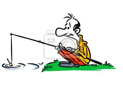 Rybar Ricni Rybarsky Prut Kreslene Ilustrace Obrazy Na Stenu