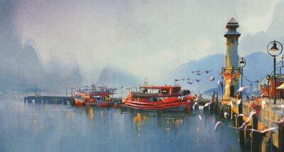 Obraz Rybářská loď v přístavu v dopoledních hodinách, akvarel styl