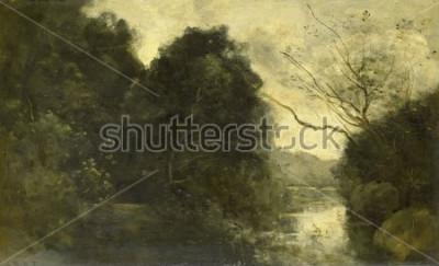 Obraz Rybník v lese, Camille Corot, 1840-75, francouzská malba, olej na panelu.