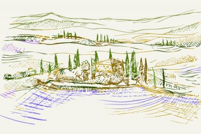 Obraz Rysynek ręcznie rysowany. Toskański pejzaż z okolic Sieny we Włoszech w Europie