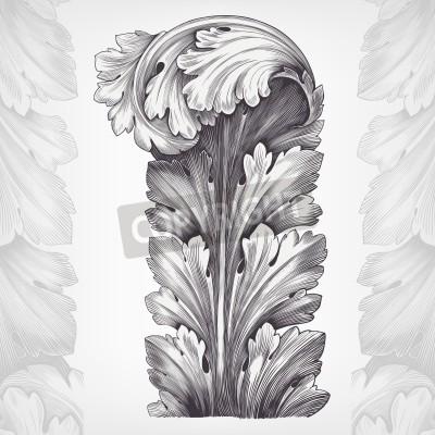 Obraz rytina acanthus ornament olistění s retro vzorem v antickém rokokovém stylu ozdobného výprava vektoru