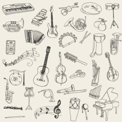 Obraz Sada hudebních nástrojů - ručně malovaná ve vektoru