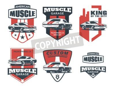 Obraz Sada ikon klasické svalové auto, emblémy, odznaky a ikony izolovaných na bílém pozadí. Opravy servisních automobilů, opravy automobilů a prvky designu automobilových klubů.