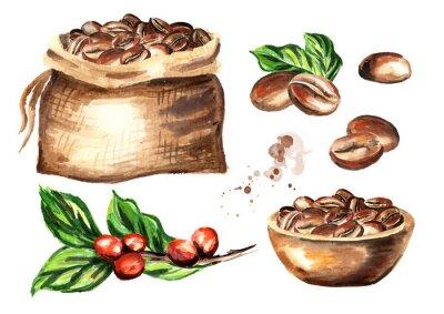 Obraz Sada kávových zrn. Akvarel ručně kreslené ilustrace izolovaných na bílém pozadí