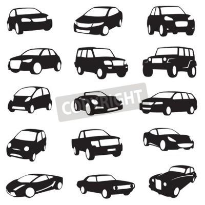 Obraz sada patnácti černá auta siluety