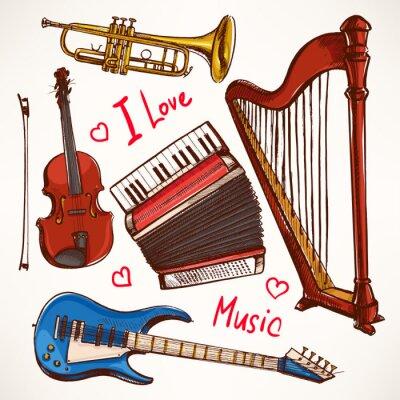 Obraz Sada s ručně kreslené Hudební nástroje