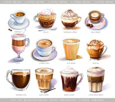 Obraz Sada s různými kávové nápoje pro kavárny nebo kavárny menu. Ilustrace silné espresso, jemný latte, sladký macchiato a cappuccino, vídeňská káva a glace se zmrzlinou.