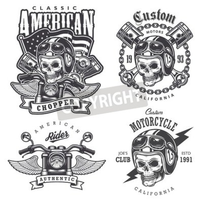 Obraz Sada Vintage motocyklu tričko tisky, emblémy, štítky, odznaky a loga. Monochromatický styl. Izolovaných na bílém pozadí
