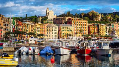 Santa Margherita Ligure port and Old town, Rapallo, Genoa, Italy